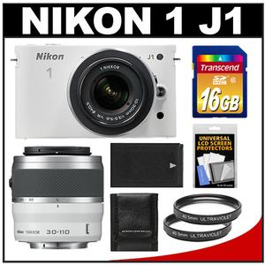 Nikon 1 J1 Camera + 10-30 VR Lens (White) - Factory Refurbished + 30-110 VR Lens (White) + 16GB + Battery + 2 UV Filters + Acc Kit at Sears.com