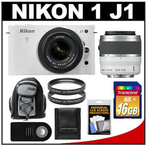 Nikon 1 J1 Camera + 10-30 VR Lens White - Factory Refurbished + 30-110 VR Lens + 16GB + Backpack + UV Filters + Remote + Acc Kit at Sears.com