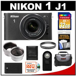 Nikon 1 J1 Camera Body + 10-30mm VR Lens  - Factory Refurbished + 32GB Card + Case + Battery + Filter + 2 Tele/Wide Lenses + Acc Kit at Sears.com