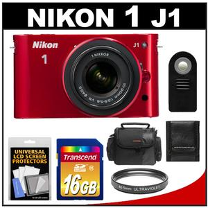 Nikon 1 J1 Digital Camera Body + 10-30mm VR Lens (Red) - Factory Refurbished + 16GB Card + Case + Filter + Remote + Accessory Kit at Sears.com