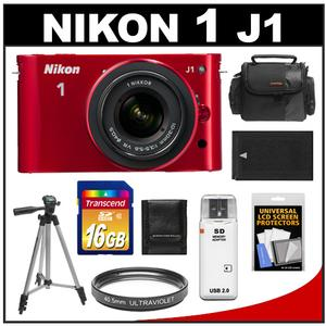 Nikon 1 J1 Camera Body + 10-30mm VR Lens (Red) - Factory Refurbished + 16GB Card + Case + Battery + Filter + Tripod + Accessory Kit at Sears.com