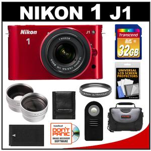 Nikon 1 J1 Camera + 10-30 VR Lens (Red) - Factory Refurbished + 32GB Card + Case + Battery + Filter + 2 Tele/Wide Lenses + Acc Kit at Sears.com