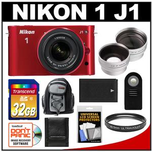 Nikon 1 J1 Camera + 10-30 VR Lens (Red) - Factory Refurbished + 32GB + Backpack + Battery + 2 Lens Set + Filter + Remote + Acc Kit at Sears.com