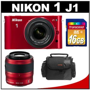 Nikon 1 J1 Digital Camera Body with 10-30mm VR Lens (Red) - Factory Refurbished with 30-110mm VR Lens (Red) + 16GB Card + Case Kit at Sears.com