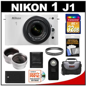 Nikon 1 J1 Camera + 10-30 VR Lens (White) - Factory Refurbished + 32GB Card + Case + Battery + Filter + 2 Tele/Wide Lenses + Acc Kit at Sears.com