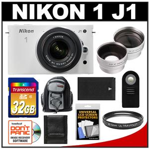 Nikon 1 J1 Camera + 10-30 VR Lens (White) - Factory Refurbished + 32GB + Backpack + Battery + 2 Lens Set + Filter + Remote + Acc Kit at Sears.com