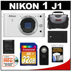 Nikon 1 J1 Digital Camera Body (White) - Factory Refurbished with 32GB Card + Battery + Case + Accessory Kit at Sears.com