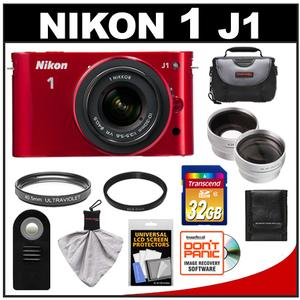 Nikon 1 J1 Camera Body + 10-30mm VR Lens (Red) + 32GB Card + Case + Filter + Remote + Wide Angle + Telephoto Lenses + Accessory Kit at Sears.com