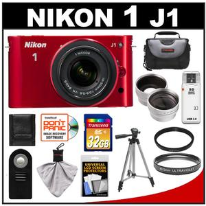 Nikon 1 J1 Camera Body + 10-30mm VR Lens (Red) + 32GB Card + Case + Tripod + Filter + Remote + Wide Angle + Telephoto Lens Kit at Sears.com