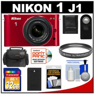 Nikon 1 J1 Digital Camera Body with 10-30mm VR Lens (Red) with 32GB Card + Battery + Case + Filter + Remote + Accessory Kit at Sears.com