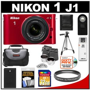 Nikon 1 J1 Camera Body + 10-30mm VR Lens (Red) + 32GB Card + Battery + Case + Lens Set + Filter + Remote + Tripod + Accessory Kit at Sears.com