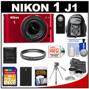 Nikon 1 J1 Camera Body + 10-30mm VR Lens (Red) + 32GB Card + Battery + Backpack + Lens Set + Filter + Remote + Tripod + Acc Kit at Sears.com