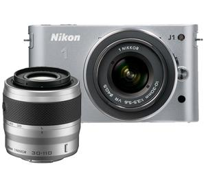 Nikon 1 J1 Digital Camera Body with 10-30mm and 30-110mm VR Lens (Silver)