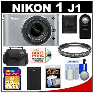 Nikon 1 J1 Digital Camera Body with 10-30mm VR Lens (Silver) with 32GB Card + Battery + Case + Filter + Remote + Accessory Kit at Sears.com