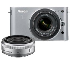 Nikon 1 J1 Digital Camera Body with 10mm f/2.8 + 10-30mm VR Lens (Silver) at Sears.com
