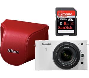 Nikon 1 J1 Digital Camera Body with 10-30mm VR Lens (White) and Red Case and 8GB Card