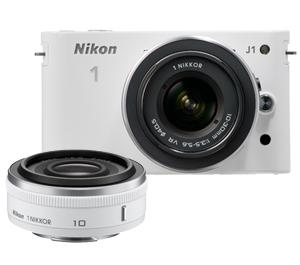 Nikon 1 J1 Digital Camera Body with 10mm f/2.8 and 10-30mm VR Lens (White)