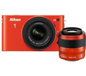 Nikon 1 J2 Digital Camera Body with 10-30mm And 30-110mm VR Lens (Orange)