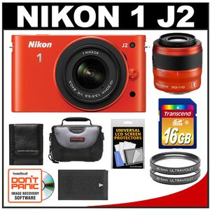 Nikon 1 J2 Digital Camera Body with 10-30mm & 30-110mm VR Lens (Orange) with 16GB Card + Case + Battery + Filters + Accessory Kit