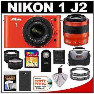 Nikon 1 J2 Digital Camera Body with 10-30mm & 30-110mm VR Lens (Orange) with 32GB Card + Case + Battery + Filters + Wide-Angle & Telephoto Lenses + Accessory Ki
