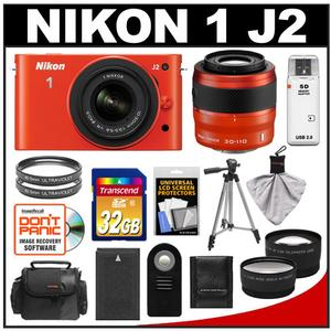 Nikon 1 J2 Digital Camera Body with 10-30mm & 30-110mm VR Lens (Orange) with 32GB Card + Case + Battery + Filters + Tripod + Wide/Telephoto Lenses + Accessory K