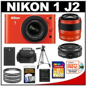 Nikon 1 J2 Digital Camera Body with 10-30mm & 30-110mm VR (Orange) + 10mm f2.8 Lens + 32GB Card + Case + Battery + Filters + Tripod + Wide/Telephoto Lens Kit