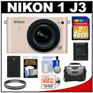 Nikon 1 J3 Digital Camera Body with 10-30mm VR Lens (Beige) with 16GB Card + Battery + Case + Filter + Accessory Kit at Sears.com