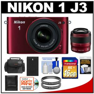 Nikon 1 J3 Digital Camera Body with 10-30mm + 30-110mm VR Lens (Red) with 16GB Card + Battery + Case + Filters + Accessory Kit at Sears.com