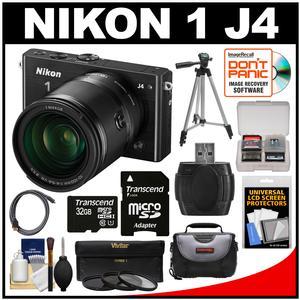 Nikon 1 J4 Digital Camera & 10-100mm VR Lens (Black) with 32GB Card + Case + Tripod + 3 Filters + Kit