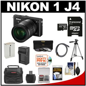 Nikon 1 J4 Digital Camera & 10-100mm VR Lens (Black) with 64GB Card + Case + Battery & Charger + Filters + Tripod + Kit