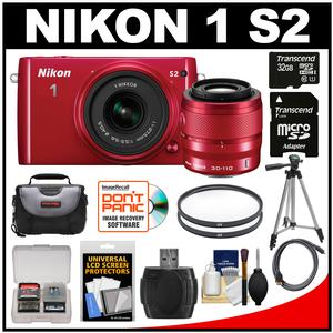 Nikon 1 S2 Digital Camera with 11-27.5mm & 30-110mm VR Lens (Red) with 32GB Card + Case + Tripod + Filters + HDMI Cable + Accessory Kit