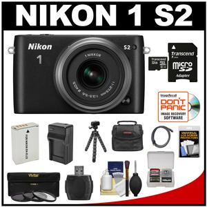 Nikon 1 S2 Digital Camera & 11-27.5mm Lens (Black) with 32GB Card + Battery + Case + Accessory Kit