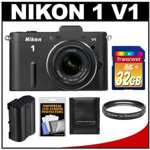 Nikon 1 V1 Digital Camera Body + 10-30mm VR Lens (Black) - Factory Refurbished + 32GB Card + Battery + UV Filter + Accessory Kit at Sears.com