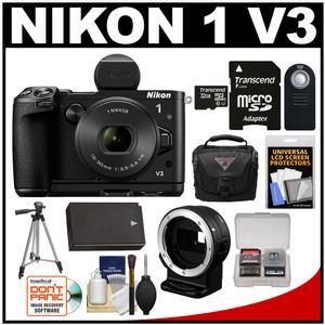 Nikon 1 V3 Digital Camera with 10-30mm PD Lens Viewfinder & Grip + Nikon FT1 Lens Adapter + 32GB Card + Case + Battery + Tripod + Accessory Kit