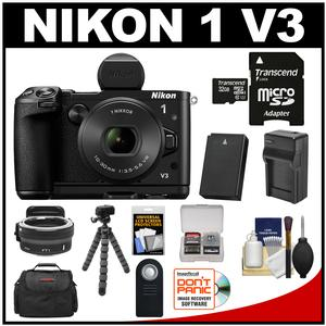 Nikon 1 V3 Digital Camera with 10-30mm PD Lens Viewfinder & Grip with Nikon FT1 Lens Adapter + 32GB Card + Case + Battery & Charger + Tripod Kit