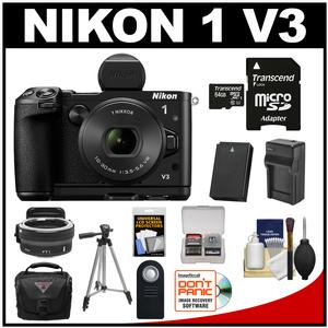 Nikon 1 V3 Digital Camera with 10-30mm PD Lens Viewfinder & Grip with Nikon FT1 Lens Adapter + 64GB Card + Case + Battery & Charger + Tripod Kit