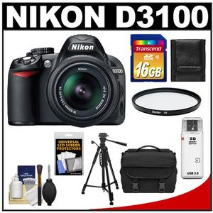 Nikon D3100 Digital SLR Camera &amp; 18-55mm G VR DX AF-S Zoom Lens - Factory Refurbished with 16GB Card + Case + Filter + Tripod + Accessory Kit