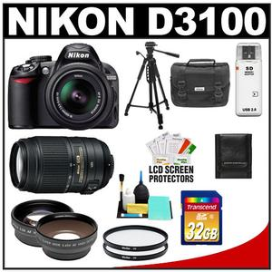 Nikon D3100 Camera + 18-55 G VR DX AF-S Lens + 55-300 VR Lens + 32GB Card + .45x Wide + 2x Telephoto Lenses + Filters + Tripod Kit at Sears.com