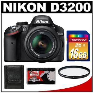 Nikon D3200 Digital SLR Camera + 18-55mm VR DX AF-S Zoom Lens (Black) -Factory Refurbished with 16GB Card + UV Filter + Acc Kit at Sears.com