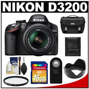 Nikon D3200 Digital SLR Camera &amp; 18-55mm G VR DX AF-S Zoom Lens (Black) with 16GB Card + Case + Filter + Remote + Accessory Kit