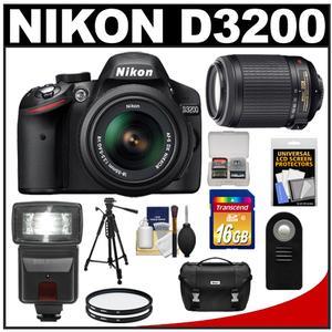 Nikon D3200 Digital SLR Camera & 18-55mm G VR DX AF-S Zoom Lens (Black) + 55-200mm VR Lens + 16GB Card + Flash + Case + Filters + Remote + Tripod + Accessory Kit