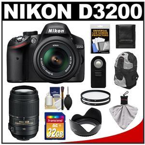 Nikon D3200 Digital SLR Camera & 18-55mm G VR DX AF-S Zoom Lens (Black) with 55-300mm VR Lens + 32GB Card + Backpack + Filters + Remote + Accessory Kit