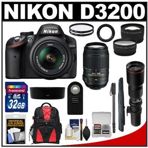Nikon D3200 Digital SLR Camera & 18-55mm G VR DX AF-S Zoom Lens (Black) with 55-300mm VR & 500mm Tele Lens + 32GB Card + Monopod + Backpack + 2 Lens Kit
