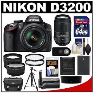 Nikon D3200 Digital SLR Camera & 18-55mm G VR DX AF-S Zoom Lens (Black) with 55-300mm VR Lens + 64GB Card + Case + Battery + Grip + Tripod + 2 Lens + Filters Kit