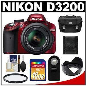 Nikon D3200 Digital SLR Camera + 18-55mm G VR DX AF-S Zoom Lens (Red) with 16GB Card + Case + Filter + Remote + Accessory Kit at Sears.com
