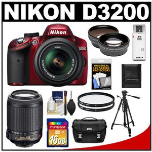 Nikon D3200 Digital SLR Camera & 18-55mm G VR DX AF-S Zoom Lens (Red) + 55-200mm VR Lens + 16GB Card + Case + Filters + Tripod + Telephoto & Wide-Angle Lens Kit