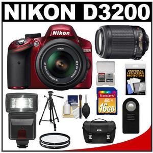 Nikon D3200 Digital SLR Camera & 18-55mm G VR DX AF-S Zoom Lens (Red) + 55-200mm VR Lens + 16GB Card + Flash + Case + Filters + Remote + Tripod + Accessory Kit