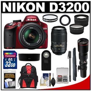 Nikon D3200 Digital SLR Camera & 18-55mm G VR DX AF-S Zoom Lens (Red) with 55-300mm VR & 500mm Tele Lens + 32GB Card + Monopod + Backpack + 2 Lens Kit