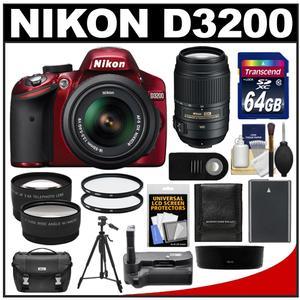 Nikon D3200 Digital SLR Camera & 18-55mm G VR DX AF-S Zoom Lens (Red) with 55-300mm VR Lens + 64GB Card + Case + Battery + Grip + Tripod + 2 Lens + Filters Kit