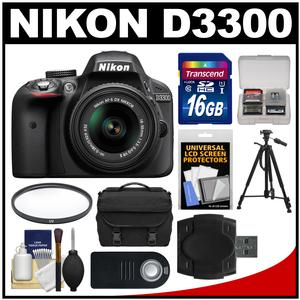 Nikon D3300 Digital SLR Camera & 18-55mm VR DX II AF-S Lens (Black) - Factory Refurbished with 16GB Card + Case + Tripod + Filter + Remote + Kit